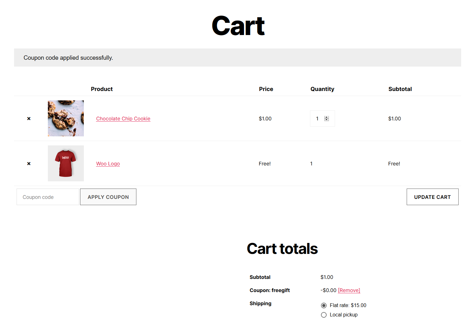 """The cart page. A notice shows the coupon was successfully entered. A t-shirt named """"Woo Logo"""" appears in cart and is listed as free."""